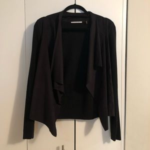 Black suede and knit open asymmetrical cardigan